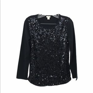 🌞J.Crew Black Sequin Front Shirt size Small
